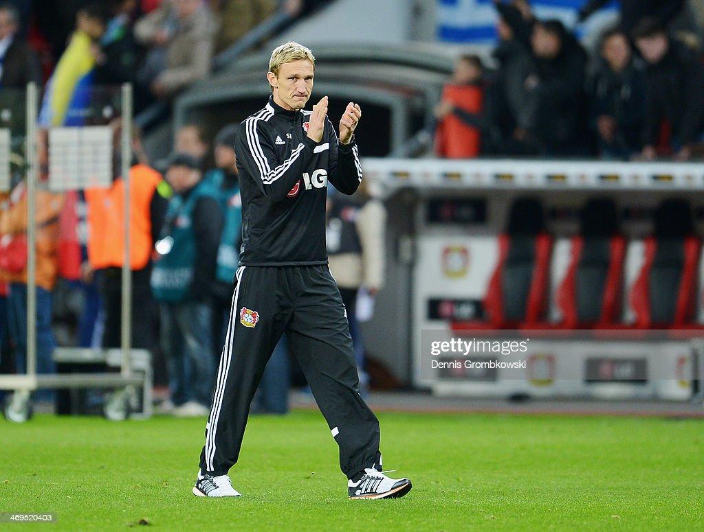 Head coach Sami Hyypia of Bayer Leverkusen reacts after the Bundesliga match between Bayer Leverkusen and FC Schalke 04 at BayArena on February 15, 2014 in Leverkusen, Germany.