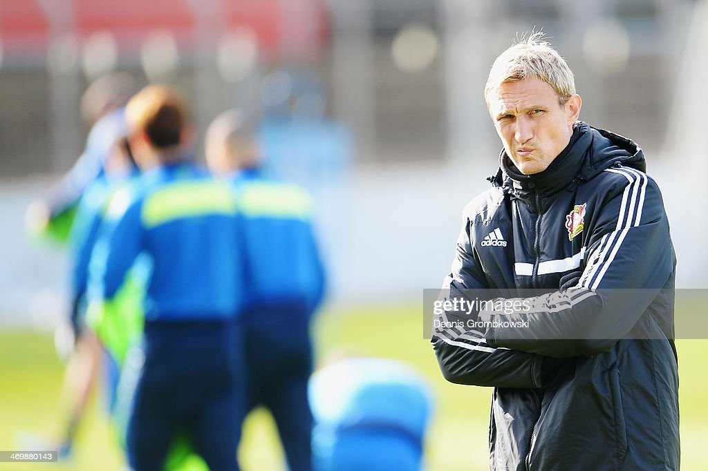 Head coach Sami Hyypia of Bayer Leverkusen reacts during a training session ahead of the UEFA Champions League match between Bayer Leverkusen and Paris Saint-Germain on February 17, 2014 in Leverkusen, Germany.