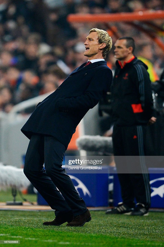 Head coach Sami Hyypia of Bayer Leverkusen reacts during the UEFA Champions League Group A match between Shakhtar Donetsk and Bayer Leverkusen at Donbass Arena on November 5, 2013 in Donetsk, Ukraine.