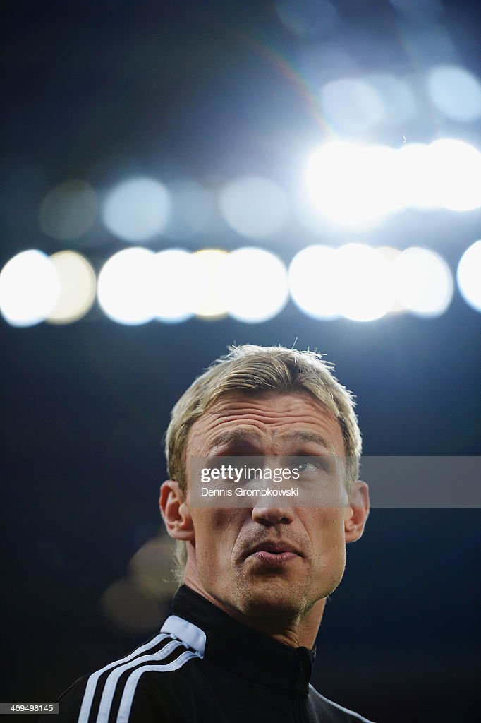 Head coach Sami Hyypia of Bayer Leverkusen reacts prior to the Bundesliga match between Bayer Leverkusen and FC Schalke 04 at BayArena on February 15, 2014 in Leverkusen, Germany.
