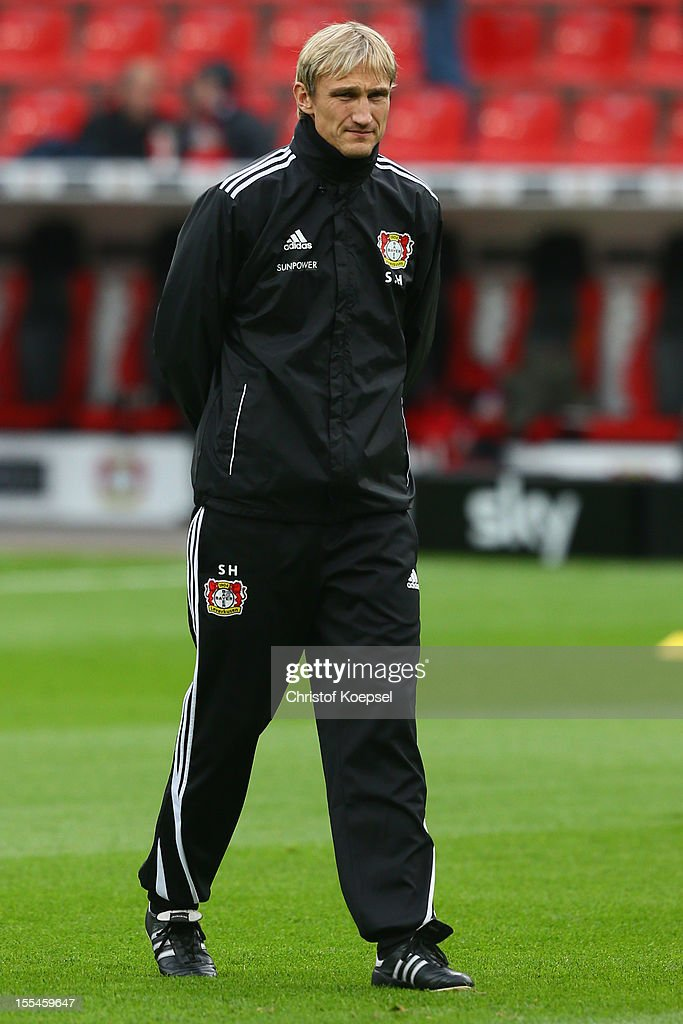 Head coach Sami Hyypiae of Leverkusen looks on during the Bundesliga match between Bayer 04 Leverkusen and Fortuna Duesseldorf at BayArena on November 4, 2012 in Leverkusen, Germany. (Photo by Christof Koepsel/Bongarts/Getty Images) .