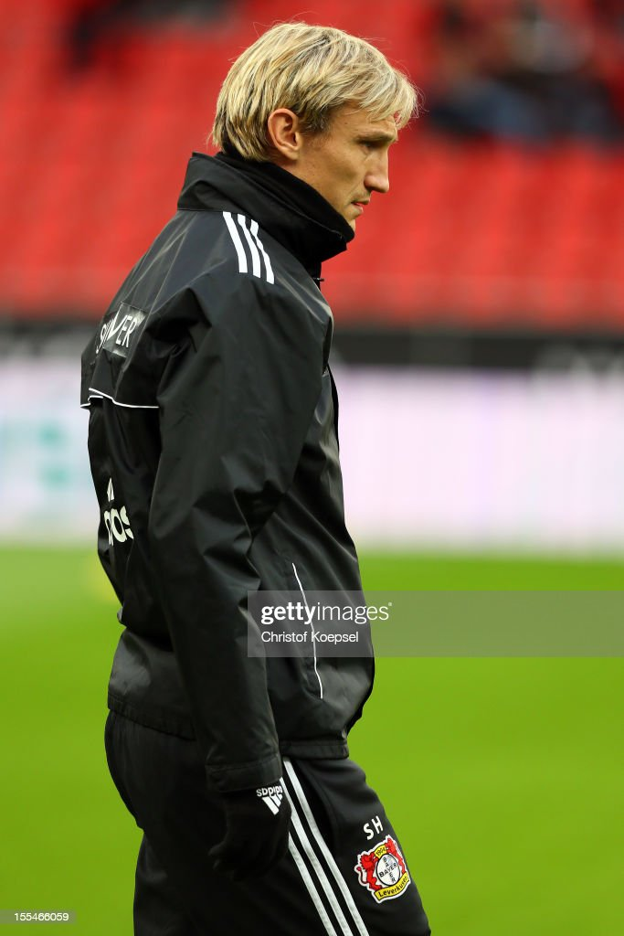 Head coach Sami Hyypiae of Leverkusen looks on during the Bundesliga match between Bayer 04 Leverkusen and Fortuna Duesseldorf at BayArena on November 4, 2012 in Leverkusen, Germany. (Photo by Christof Koepsel/Bongarts/Getty Images) .