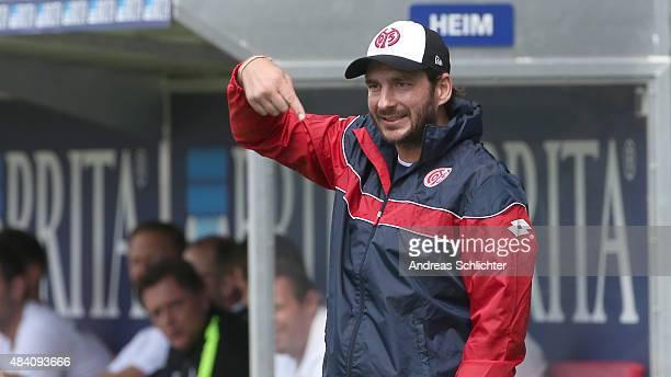 Head coach Sandro Schwarz of Mainz gestures during the Third league match between SV Wehen Wiesbaden and 1 FSV Mainz 05 II at BRITAArena on August 15...