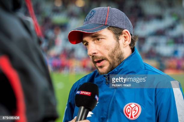 Head Coach Sandro Schwarz of Mainz gives an interview before the Bundesliga match between SportClub Freiburg and 1 FSV Mainz 05 at SchwarzwaldStadion...