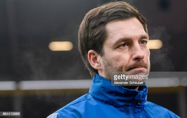 Head coach Sandro Schwarz of Mainz is seen during the Bundesliga match between 1 FSV Mainz 05 and FC Augsburg at Opel Arena on December 2 2017 in...