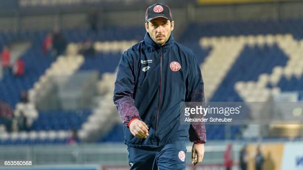 Head coach Sandro Schwarz of Mainz is seen during the Third League match between SV Wehen Wiesbaden and FSV Mainz 05 II at BRITAArena on March 15...