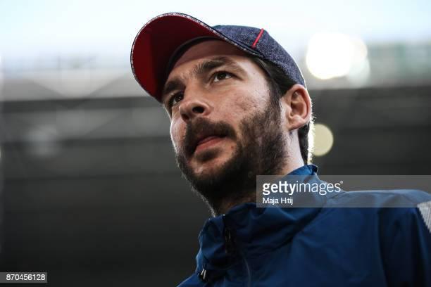 Head Coach Sandro Schwarz of Mainz looks on prior the Bundesliga match between Borussia Moenchengladbach and 1 FSV Mainz 05 at BorussiaPark on...