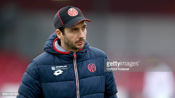 Head coach Sandro Schwarz of Mainz looks on prior to the Third League match between Fortuna Koeln an FSV Mainz 05 II at Suedstadion on December 17...