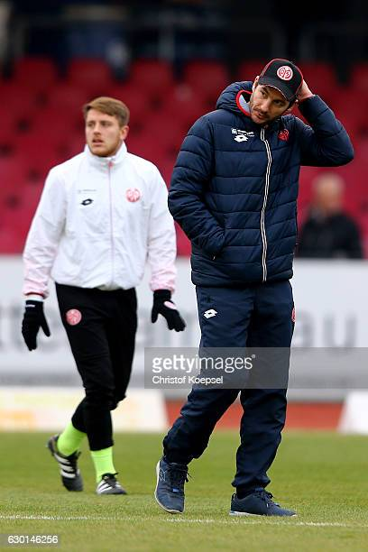 Head coach Sandro Schwarz of Mainz looks on prior to the Third League match between Fortuna Koeln an FSV Mainz 05 II at Suedstadion on December 17...