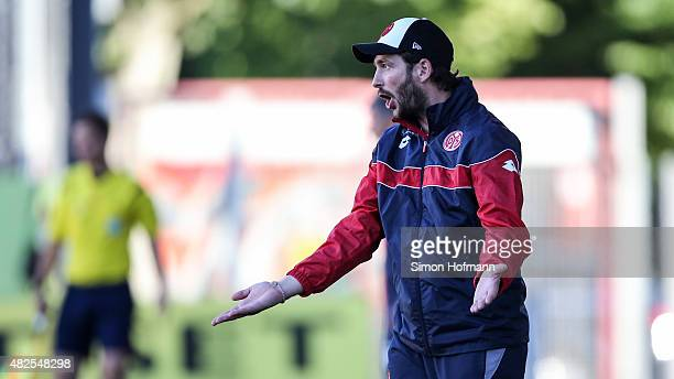 Head coach Sandro Schwarz of Mainz reacts during the 3 Liga match between 1 FSV Mainz 05 II and 1 FC Magdeburg at Bruchweg Stadium on July 31 2015 in...