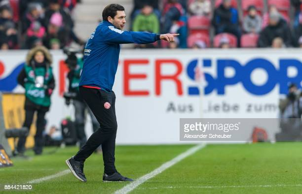 Head coach Sandro Schwarz of Mainz reacts during the Bundesliga match between 1 FSV Mainz 05 and FC Augsburg at Opel Arena on December 2 2017 in...