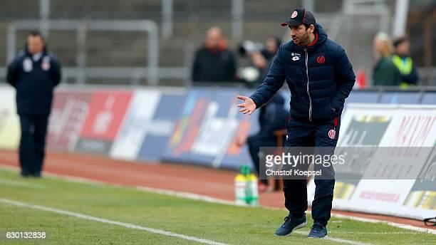 Head coach Sandro Schwarz of Mainz reacts during the Third League match between Fortuna Koeln an FSV Mainz 05 II at Suedstadion on December 17 2016...