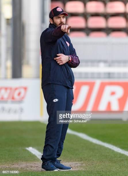 Head coach Sandro Schwarz of Mainz reacts during the Third League match between Mainz 05 II and SV Werder Bremen II at Bruchweg Stadium on March 11...