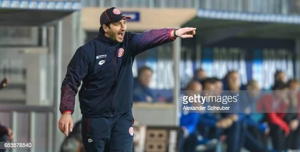 Head coach Sandro Schwarz of Mainz reacts during the Third League match between SV Wehen Wiesbaden and FSV Mainz 05 II at BRITAArena on March 15 2017...
