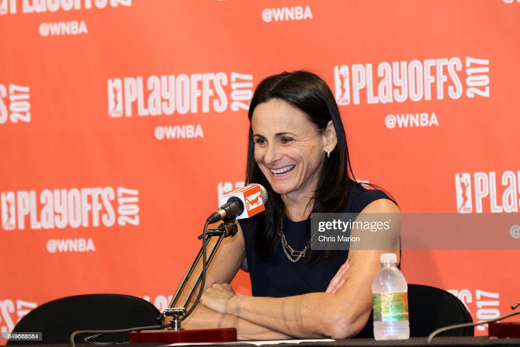 Head coach Sandy Brondello of the Phoenix Mercury speaks at a post game press conference after the game against the Connecticut Sun in Round Two of the 2017 WNBA Playoffs on September 10, 2017 at Mohegan Sun Arena in Uncasville, CT.
