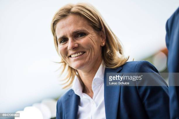 Head Coach Sarina Wiegman of Netherlands smiles prior to the Women's International Friendly match between Netherlands and Japan at Rat Verlegh...