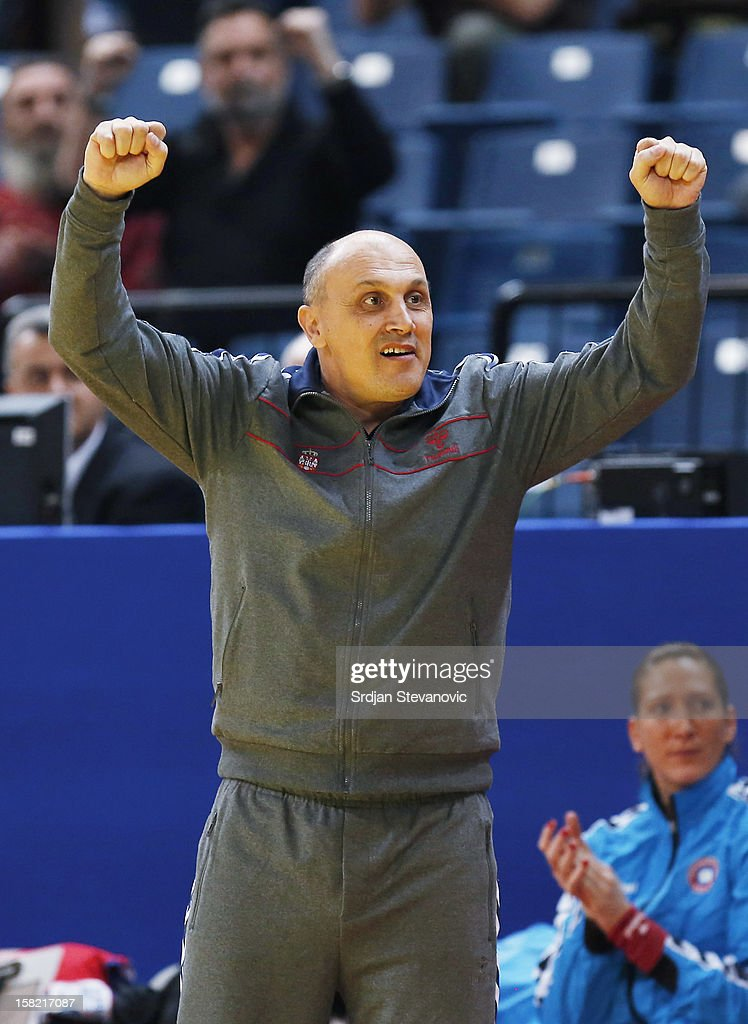 Head coach Sasa Boskovic (L) of Serbia reacts during the Women's European Handball Championship 2012 Group I main round match between Serbia and Denmark at Arena Hall on December 11, 2012 in Belgrade, Serbia.