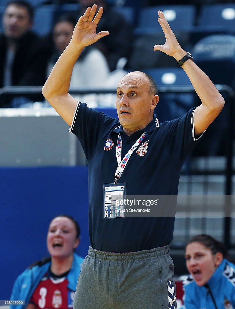 Head coach Sasa Boskovic (C) of Serbia reacts during the Women's European Handball Championship 2012 Group I main round match between Serbia and Denmark at Arena Hall on December 11, 2012 in Belgrade, Serbia.
