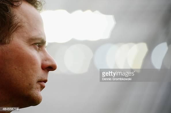 Head coach Sascha Lewandowski of Bayer Leverkusen looks on prior to the Bundesliga match between Bayer Leverkusen and Hertha BSC at BayArena on April...
