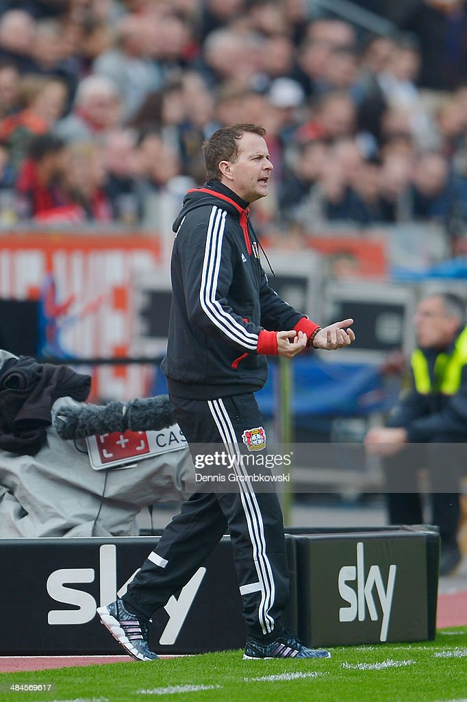Head coach <a gi-track='captionPersonalityLinkClicked' href=/galleries/search?phrase=Sascha+Lewandowski&family=editorial&specificpeople=5134760 ng-click='$event.stopPropagation()'>Sascha Lewandowski</a> of Bayer Leverkusen reacts during the Bundesliga match between Bayer Leverkusen and Hertha BSC at BayArena on April 13, 2014 in Leverkusen, Germany.