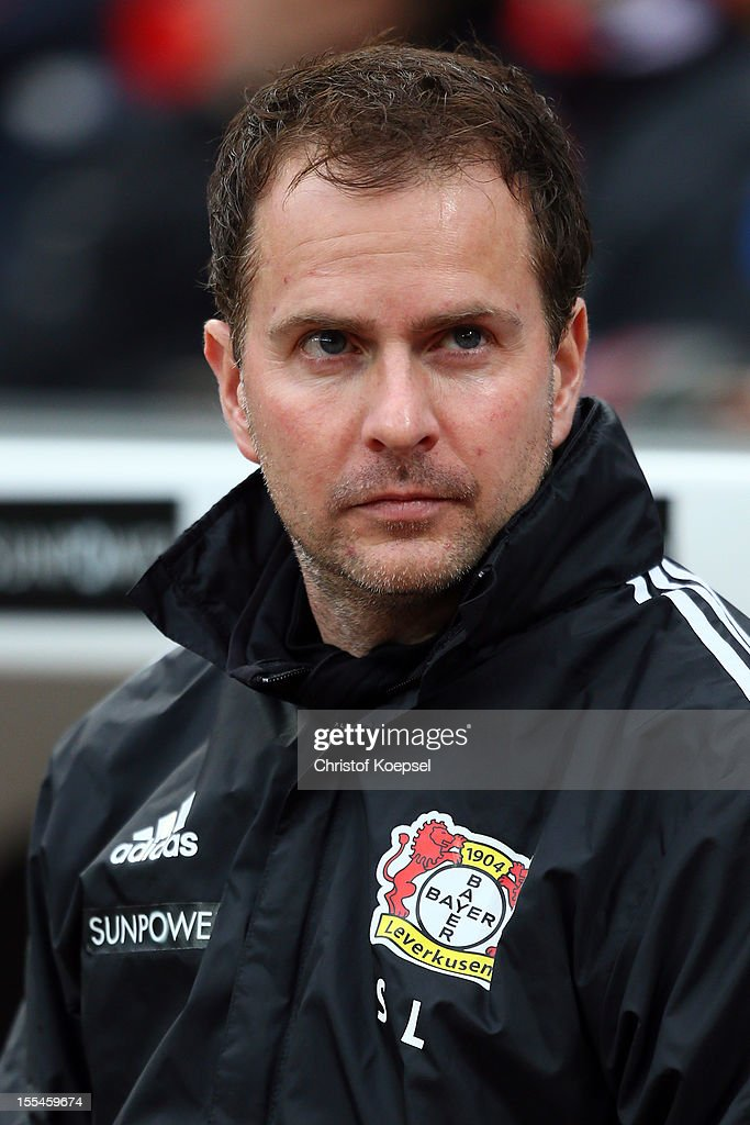 Head coach Sascha Lewandowski of Leverkusen looks on prior to the Bundesliga match between Bayer 04 Leverkusen and Fortuna Duesseldorf at BayArena on November 4, 2012 in Leverkusen, Germany. (Photo by Christof Koepsel/Bongarts/Getty Images) .