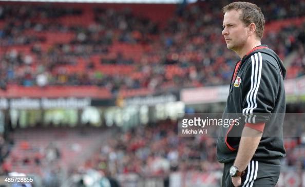 Head coach Sascha Lewandowski of Leverkusen looks on prior to the Bundesliga match between 1 FC Nuernberg and Bayer Leverkusen at Grundig Stadium on...