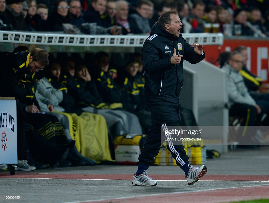 Head coach Sascha Lewandowski of Leverkusen reacts during the Bundesliga match between Bayer 04 Leverkusen and Borussia Dortmund at BayArena on February 3, 2013 in Leverkusen, Germany.