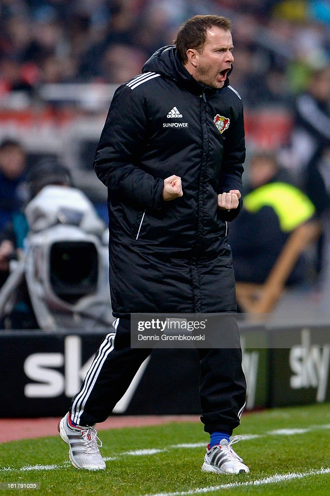 Head coach <a gi-track='captionPersonalityLinkClicked' href=/galleries/search?phrase=Sascha+Lewandowski&family=editorial&specificpeople=5134760 ng-click='$event.stopPropagation()'>Sascha Lewandowski</a> of Leverkusen reacts during the Bundesliga match between Bayer 04 Leverkusen and FC Augsburg at BayArena on February 16, 2013 in Leverkusen, Germany.