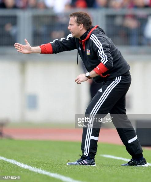 Head coach Sascha Lewandowski of Leverkusen reacts during the Bundesliga match between 1 FC Nuernberg and Bayer Leverkusen at Grundig Stadium on...