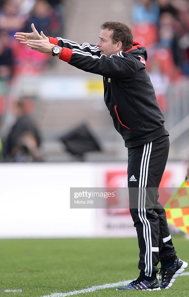 Head coach <a gi-track='captionPersonalityLinkClicked' href=/galleries/search?phrase=Sascha+Lewandowski&family=editorial&specificpeople=5134760 ng-click='$event.stopPropagation()'>Sascha Lewandowski</a> of Leverkusen reacts during the Bundesliga match between 1. FC Nuernberg and Bayer Leverkusen at Grundig Stadium on April 20, 2014 in Nuremberg, Germany.
