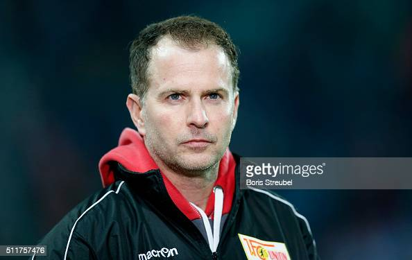 Head coach Sascha Lewandowski of Union Berlin looks on prior to the Second Bundesliga match between RB Leipzig and 1 FC Union Berlin at Red Bull...