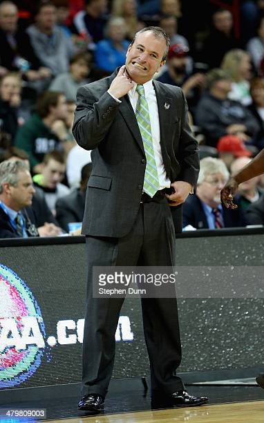 Head coach Saul Phillips of the North Dakota State Bison reacts during the game against the Oklahoma Sooners in the second round of the 2014 NCAA...