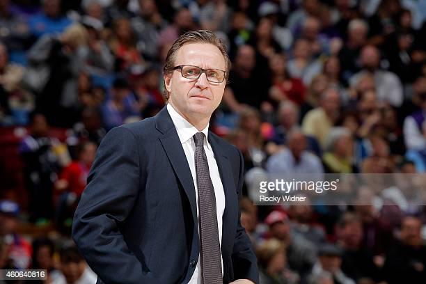 Head Coach Scott Brooks of the Oklahoma City Thunder coaches against the Sacramento Kings on December 16 2014 at Sleep Train Arena in Sacramento...