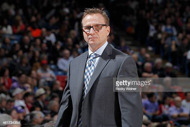 Head Coach Scott Brooks of the Oklahoma City Thunder coaches against the Sacramento Kings on January 7 2015 at Sleep Train Arena in Sacramento...
