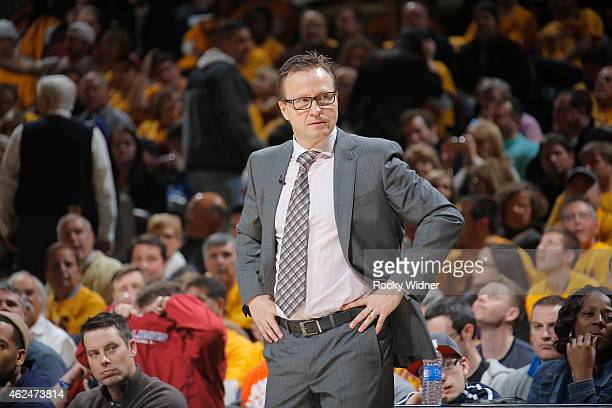 Head Coach Scott Brooks of the Oklahoma City Thunder coaches against the Cleveland Cavaliers on January 25 2015 at Quicken Loans Arena in Cleveland...