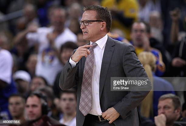 Head coach Scott Brooks of the Oklahoma City Thunder complains to the officals after being called for a technical foul during their game against the...