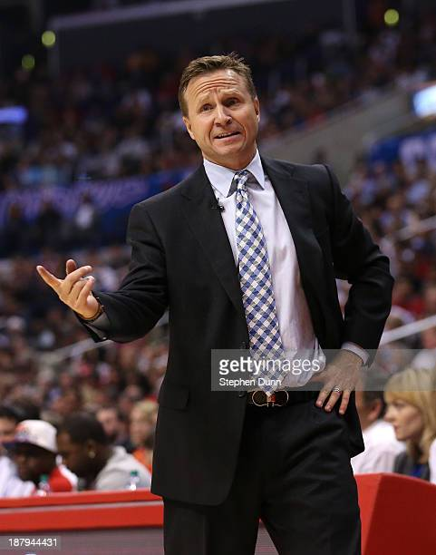 Head coach Scott Brooks of the Oklahoma City Thunder complains to to a referee during the game with the Los Angeles Clippers at Staples Center on...