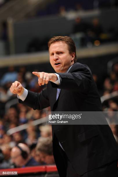 Head coach Scott Brooks of the Oklahoma City Thunder directs his team during a game against the Los Angeles Clippers at Staples Center on January 23...