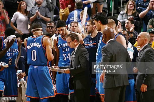 Head Coach Scott Brooks of the Oklahoma City Thunder draws up a play during the game against the Utah Jazz on March 28 2015 at EnergySolutions Arena...