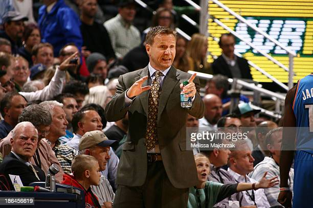 Head coach Scott Brooks of the Oklahoma City Thunder during a game against the Utah Jazz at EnergySolutions Arena on October 30 2013 in Salt Lake...