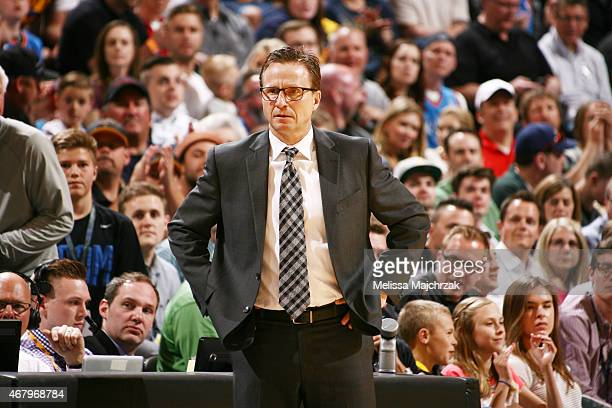 Head Coach Scott Brooks of the Oklahoma City Thunder during the game against the Utah Jazz on March 28 2015 at EnergySolutions Arena in Salt Lake...