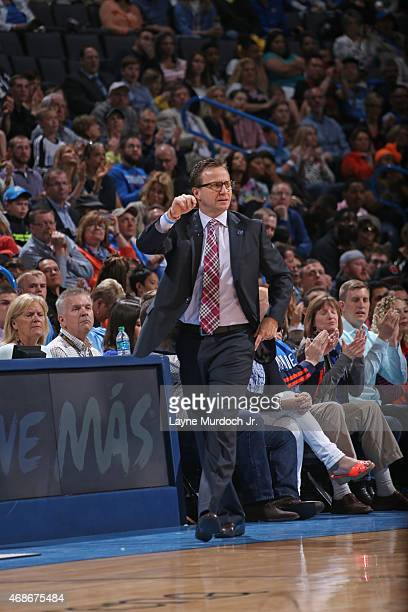 Head coach Scott Brooks of the Oklahoma City Thunder during the game against the Houston Rockets on April 5 2015 at the Chesapeake Energy Arena in...