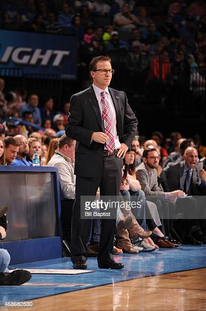 Head coach Scott Brooks of the Oklahoma City Thunder during the game against the Houston Rockets on April 5 2015 at Chesapeake Energy Arena in...