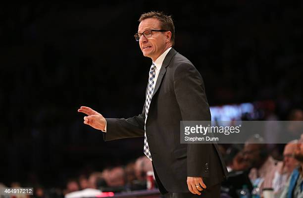 Head coach Scott Brooks of the Oklahoma City Thunder gives instructions during the game withthe Los Angeles Lakers at Staples Center on March 1 2015...