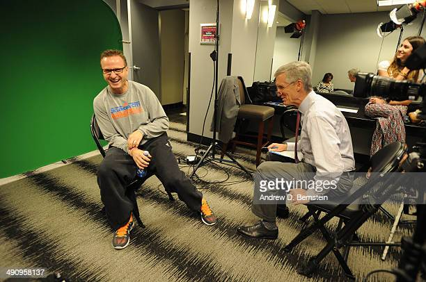 Head coach Scott Brooks of the Oklahoma City Thunder is interviewed by ESPN's Mike Breen before taking on the Los Angeles Clippers in Game Six of the...