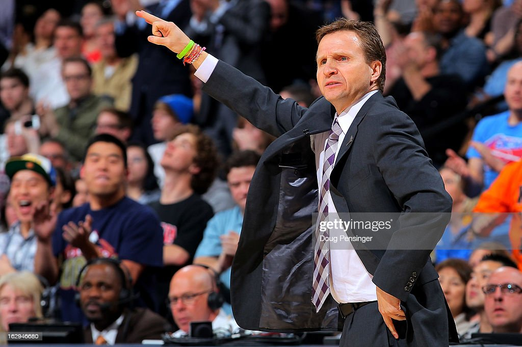 Head coach Scott Brooks of the Oklahoma City Thunder leads his team against the Denver Nuggets at the Pepsi Center on March 1, 2013 in Denver, Colorado. The Nuggets defeated the Thunder 105-103.