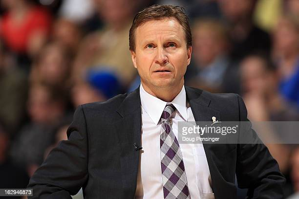 Head coach Scott Brooks of the Oklahoma City Thunder leads his team against the Denver Nuggets at the Pepsi Center on March 1 2013 in Denver Colorado...