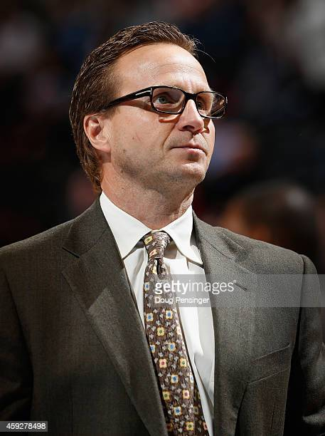 Head coach Scott Brooks of the Oklahoma City Thunder leads his team against the Denver Nuggets at Pepsi Center on November 19 2014 in Denver Colorado...