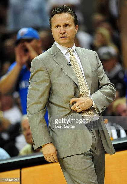 Head Coach Scott Brooks of the Oklahoma City Thunder looks on against the San Antonio Spurs in Game Two of the Western Conference Finals of the 2012...