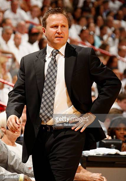 Head Coach Scott Brooks of the Oklahoma City Thunder looks on against the Miami Heat during Game Three of the 2012 NBA Finals at American Airlines...